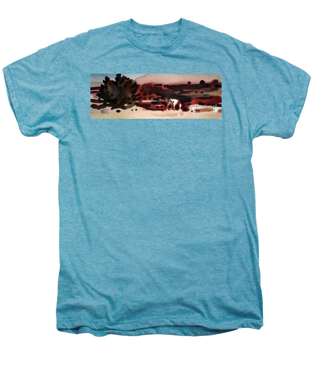 Horse Men's Premium T-Shirt featuring the painting Grazing Pinto by Donald Maier