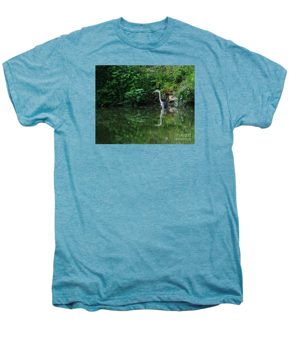 Lanscape Water Bird Crane Heron Blue Green Flowers Great Photograph Men's Premium T-Shirt featuring the photograph Great Blue Heron Hunting Fish by Dawn Downour