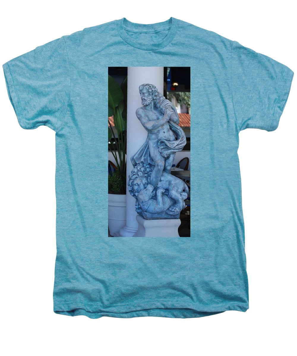 Statue Men's Premium T-Shirt featuring the photograph Greek Dude And Lion In Blue by Rob Hans