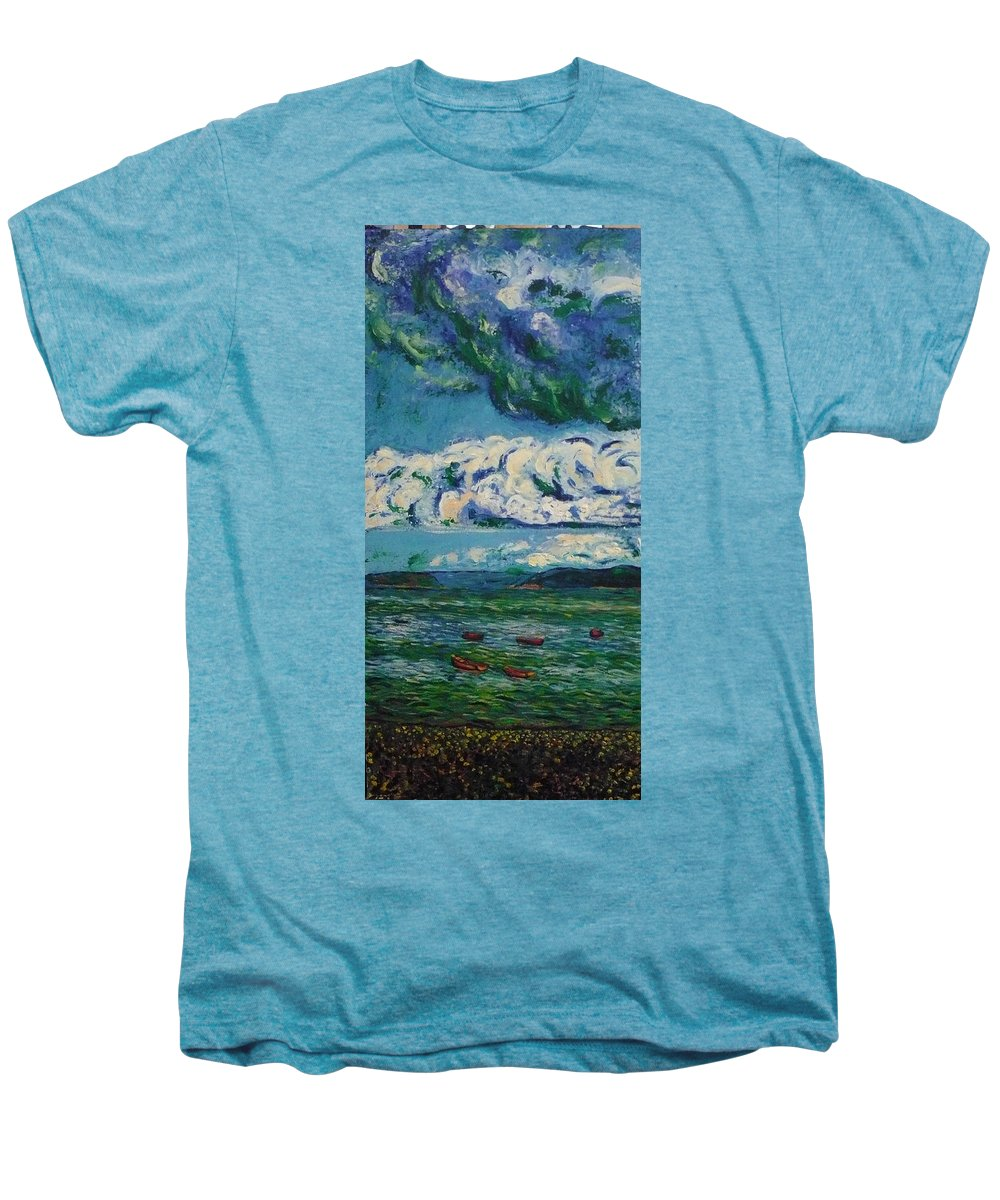 Landscape Men's Premium T-Shirt featuring the painting Green Beach by Ericka Herazo