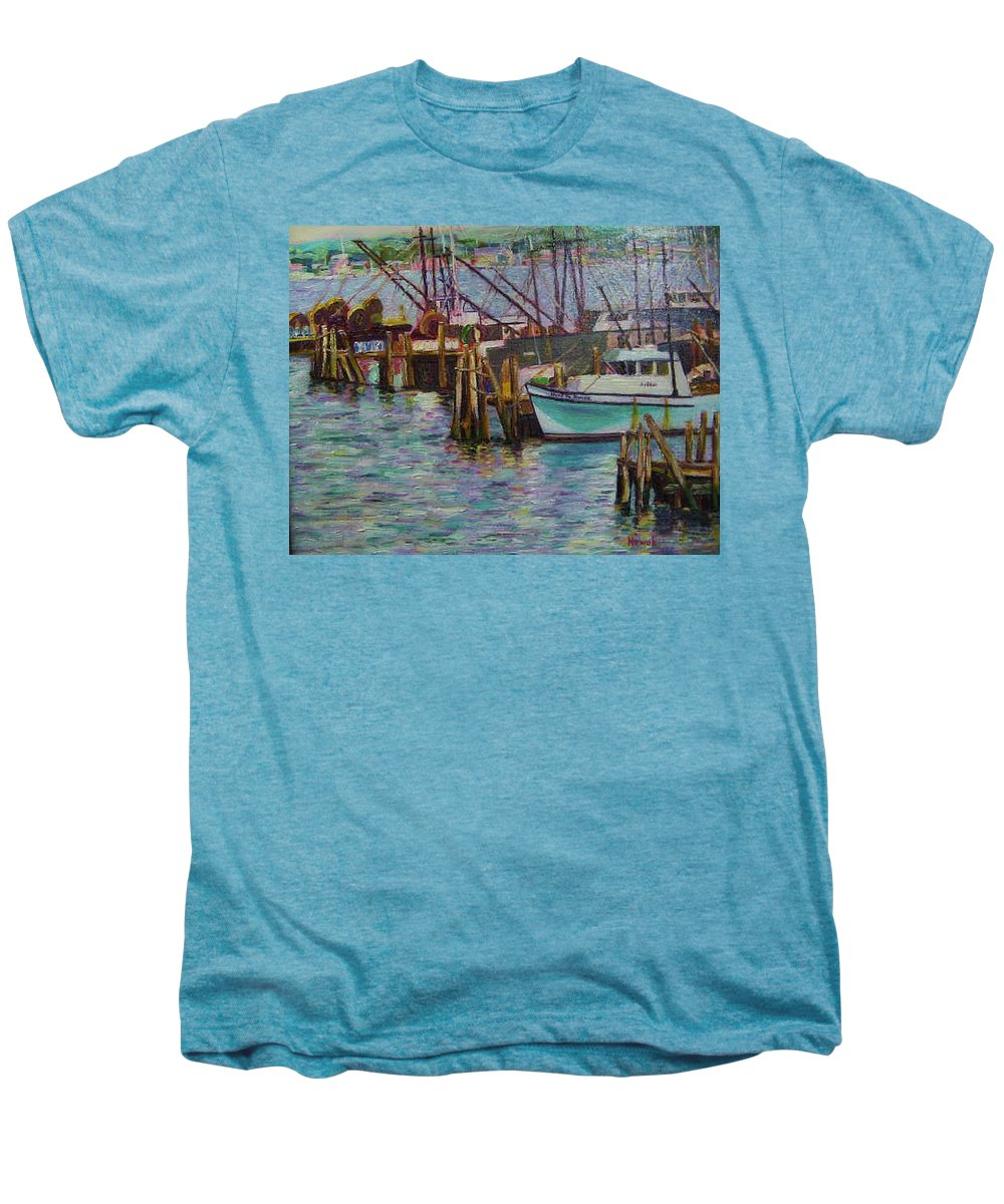 Boat Men's Premium T-Shirt featuring the painting Green Boat At Rest- Nova Scotia by Richard Nowak