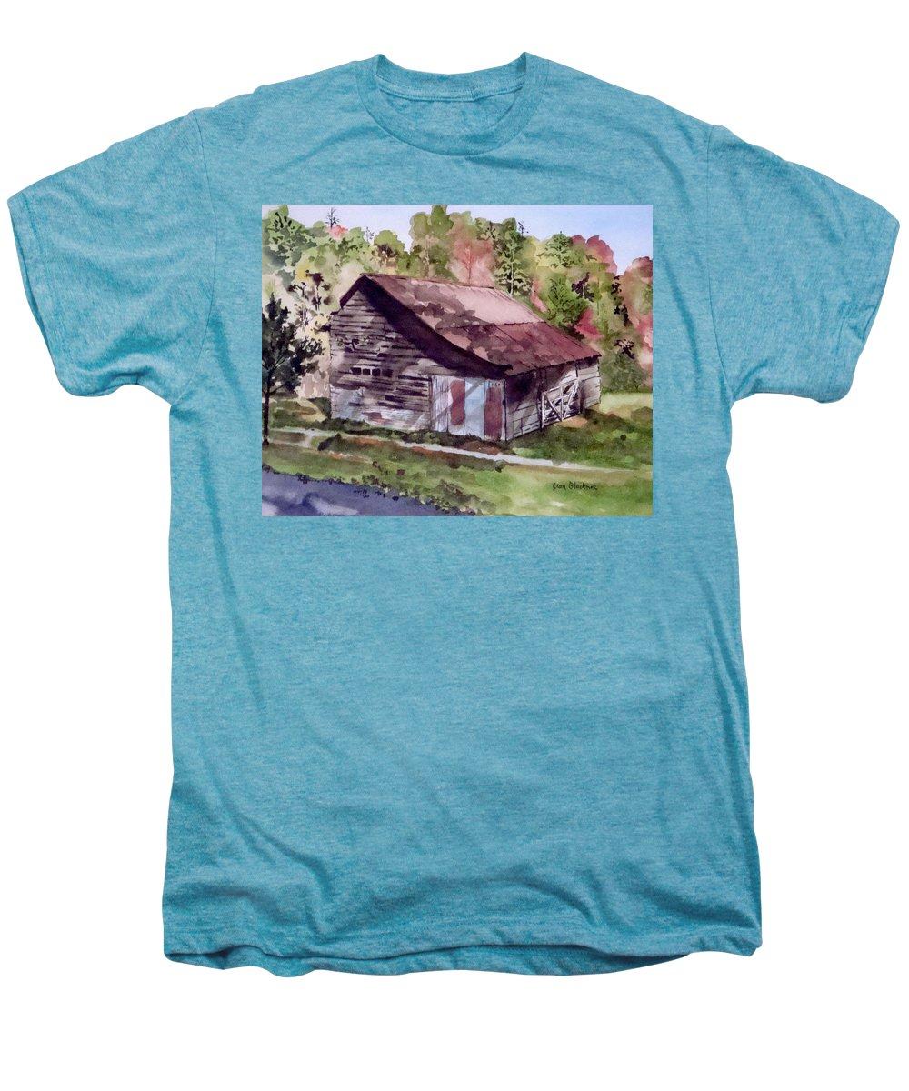 Barns Men's Premium T-Shirt featuring the painting Green Creek Barn by Jean Blackmer
