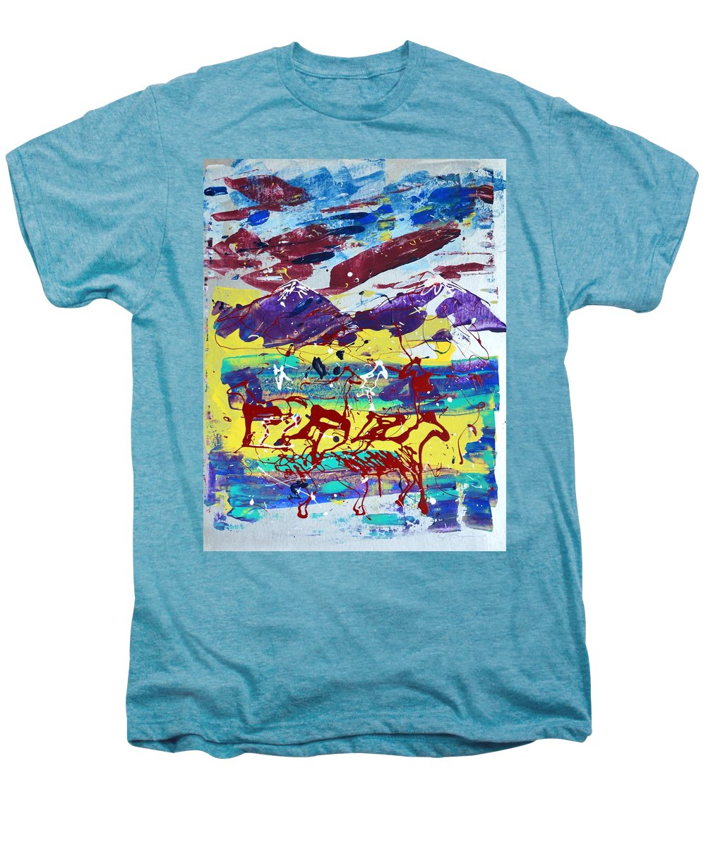 Horses Grazing Men's Premium T-Shirt featuring the painting Green Pastures And Purple Mountains by J R Seymour