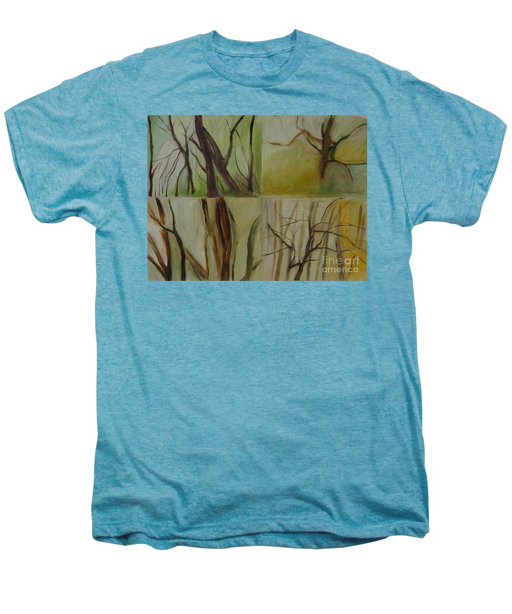 Spring Young Trees Saplings Trees Men's Premium T-Shirt featuring the painting Green Sonnet by Leila Atkinson