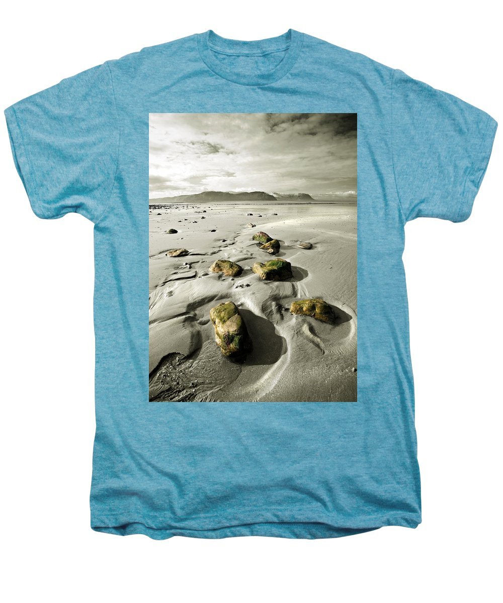 Beach Men's Premium T-Shirt featuring the photograph Green Stones On A North Wales Beach by Mal Bray