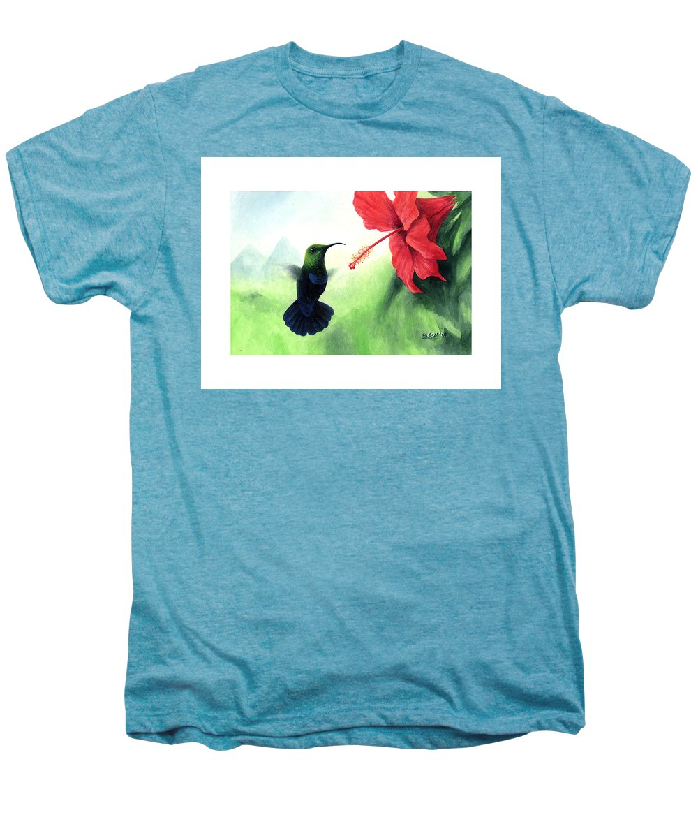 Chris Cox Men's Premium T-Shirt featuring the painting Green-throated Carib Hummingbird And Red Hibiscus by Christopher Cox