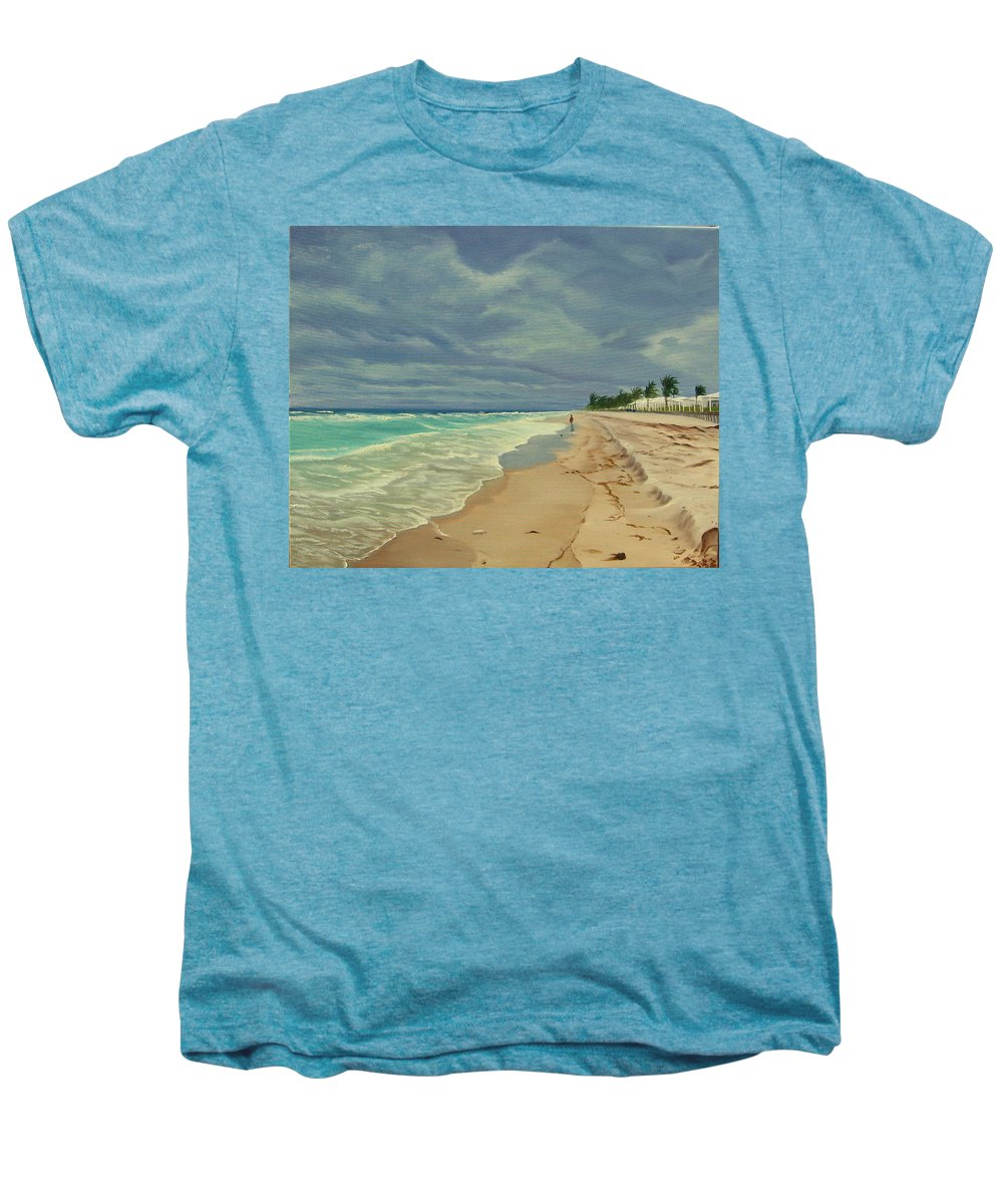 Beach Men's Premium T-Shirt featuring the painting Grey Day On The Beach by Lea Novak