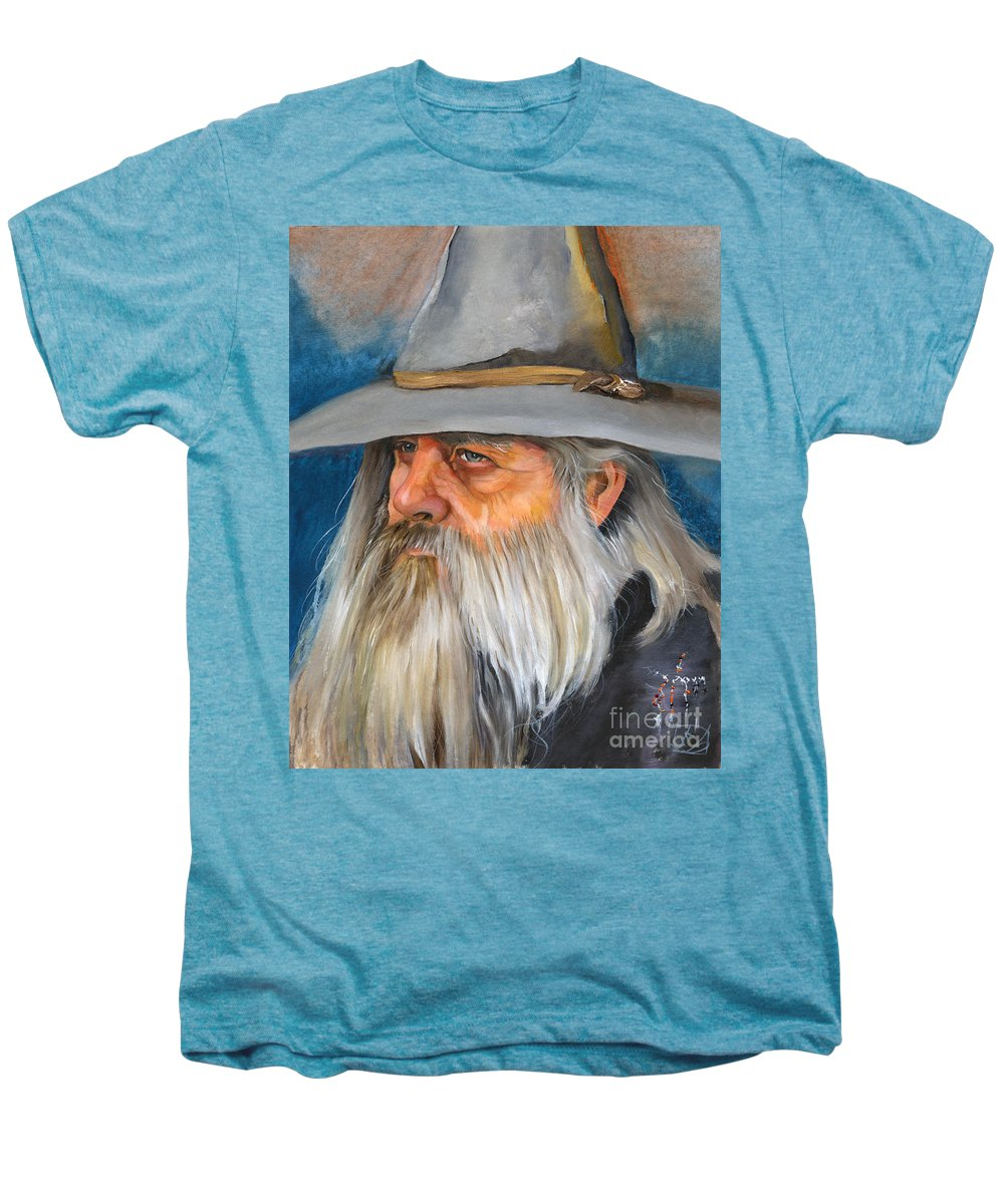 Wizard Men's Premium T-Shirt featuring the painting Grey Days by J W Baker