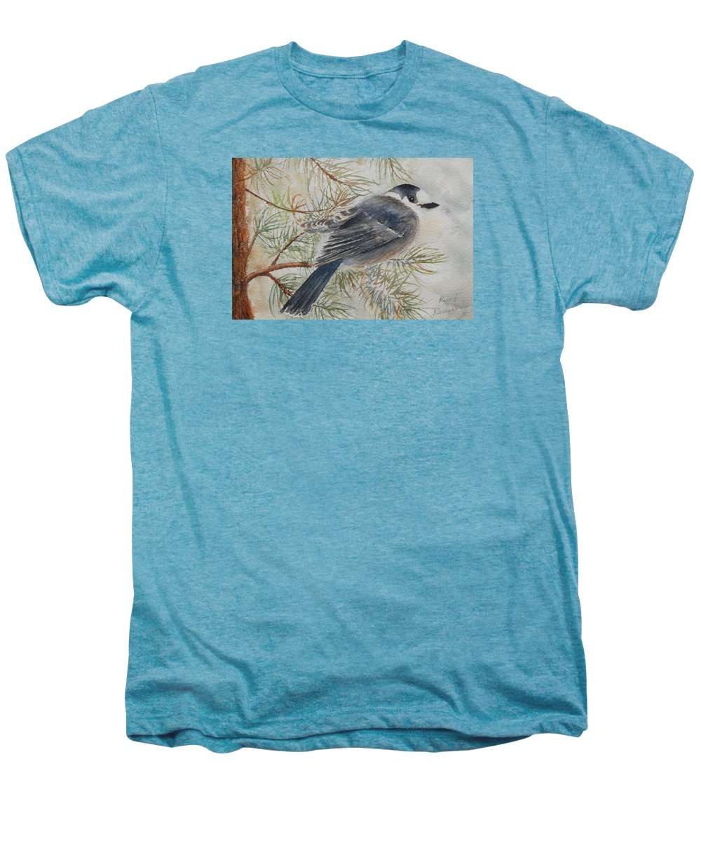 Bird Men's Premium T-Shirt featuring the painting Grey Jay by Ruth Kamenev
