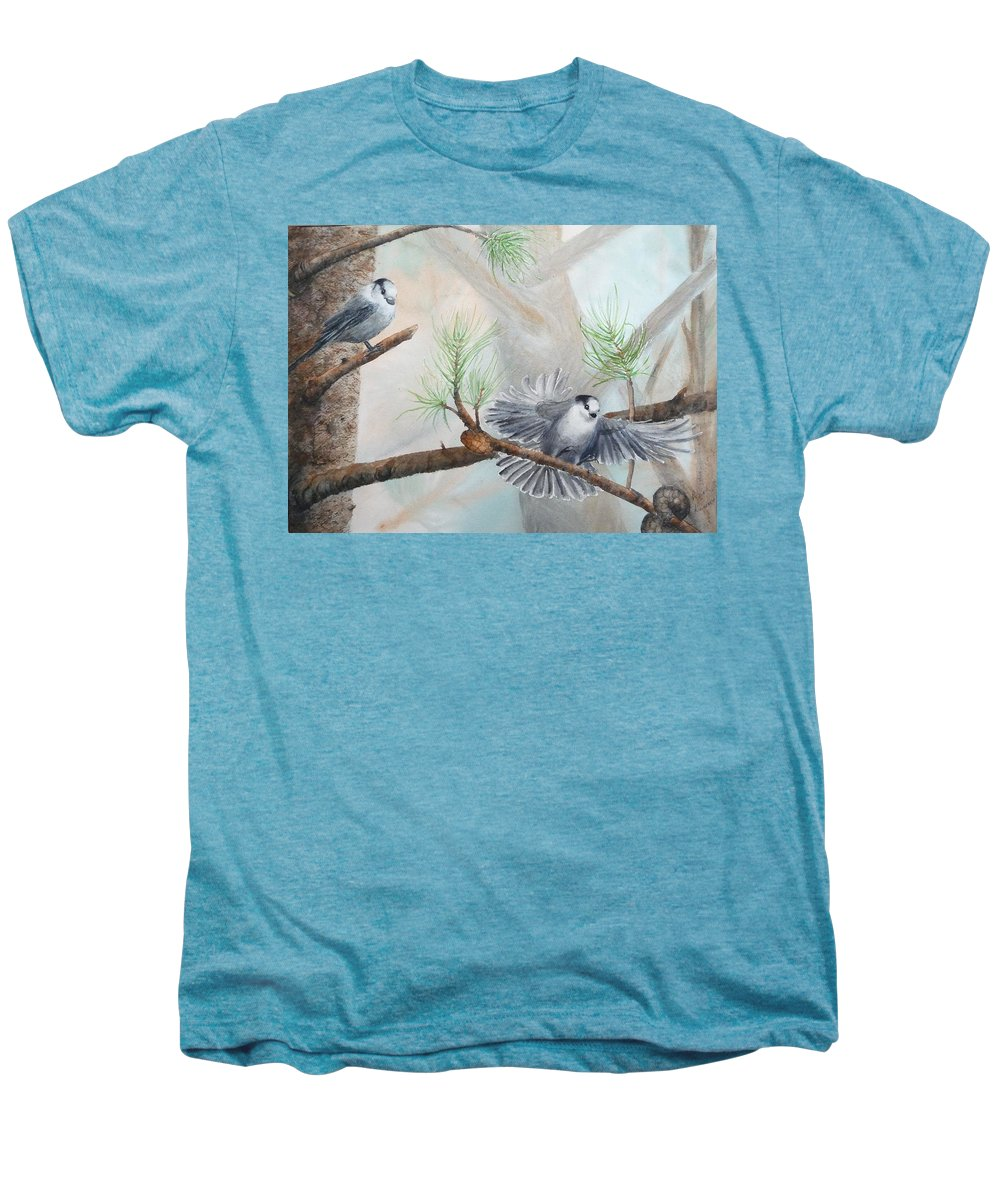 Grey Jay Men's Premium T-Shirt featuring the painting Grey Jays In A Jack Pine by Ruth Kamenev