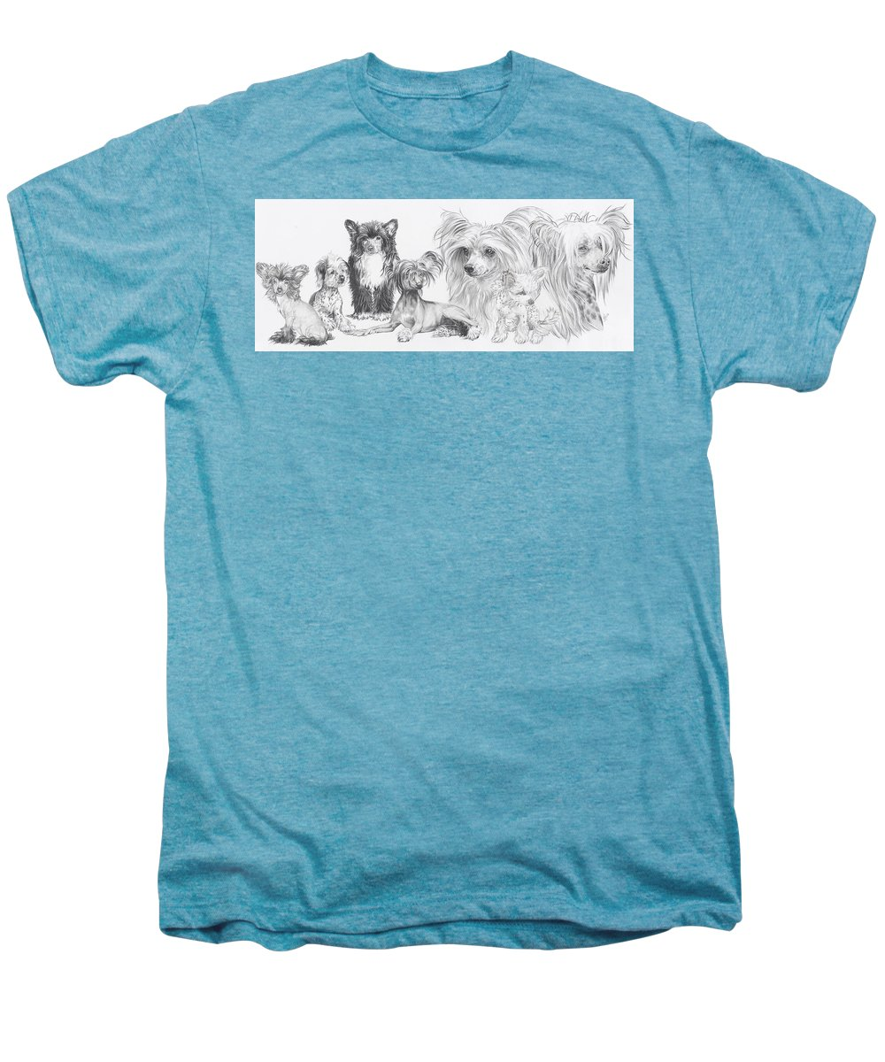 Toy Group Men's Premium T-Shirt featuring the drawing Growing Up Chinese Crested And Powderpuff by Barbara Keith