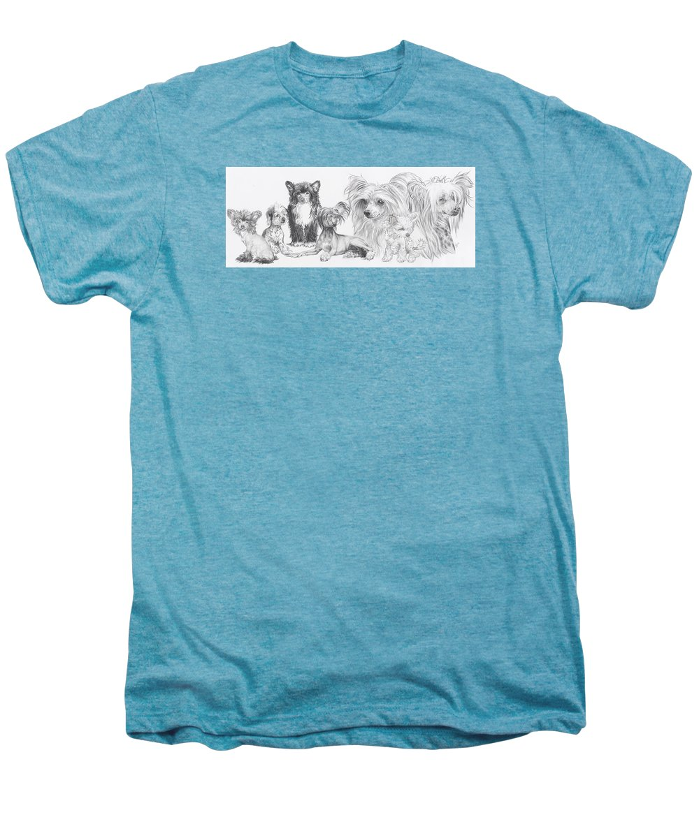 Dog Men's Premium T-Shirt featuring the drawing Growing Up Chinese Crested And Powderpuff by Barbara Keith
