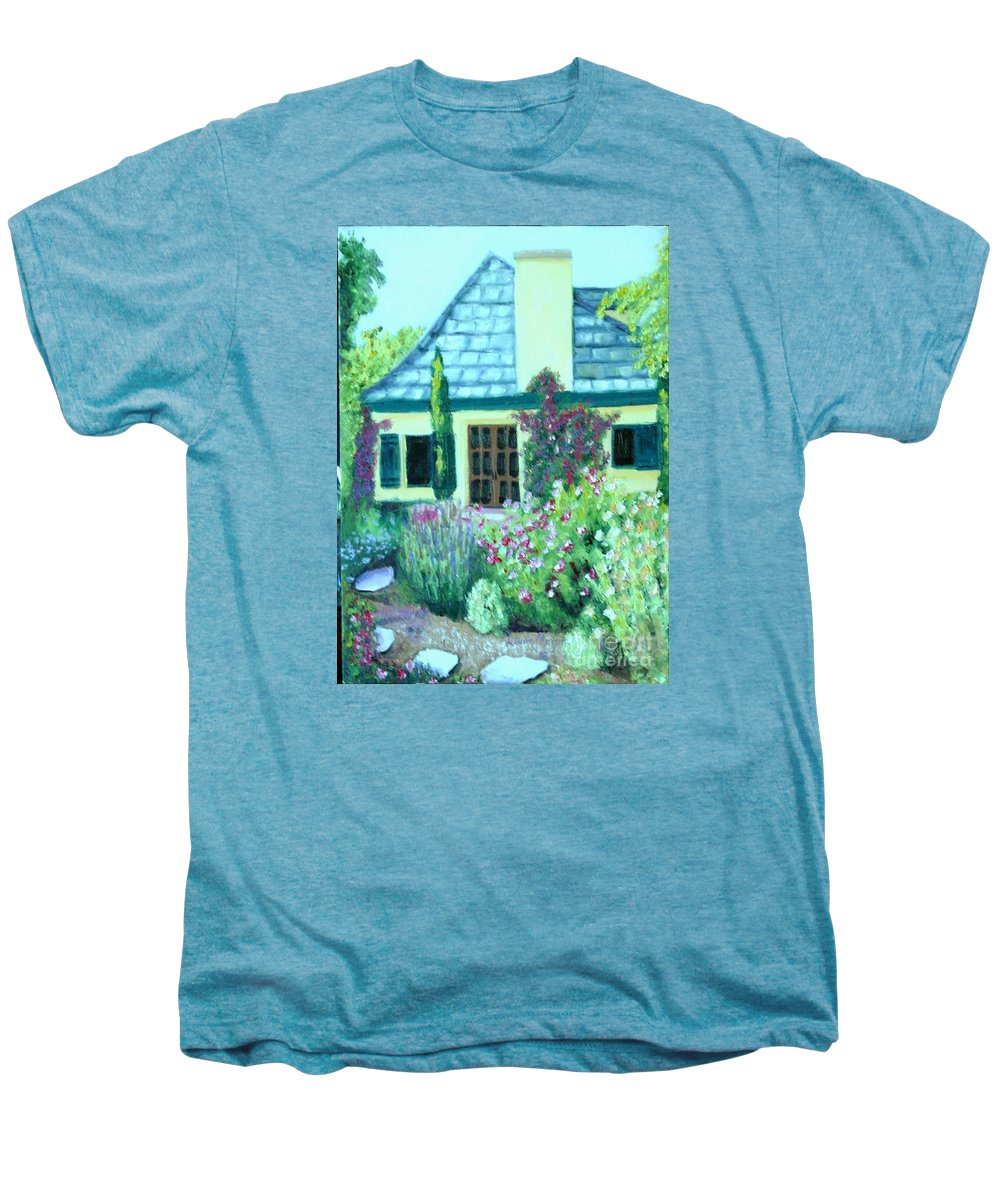 Cottage Men's Premium T-Shirt featuring the painting Guest Cottage by Laurie Morgan