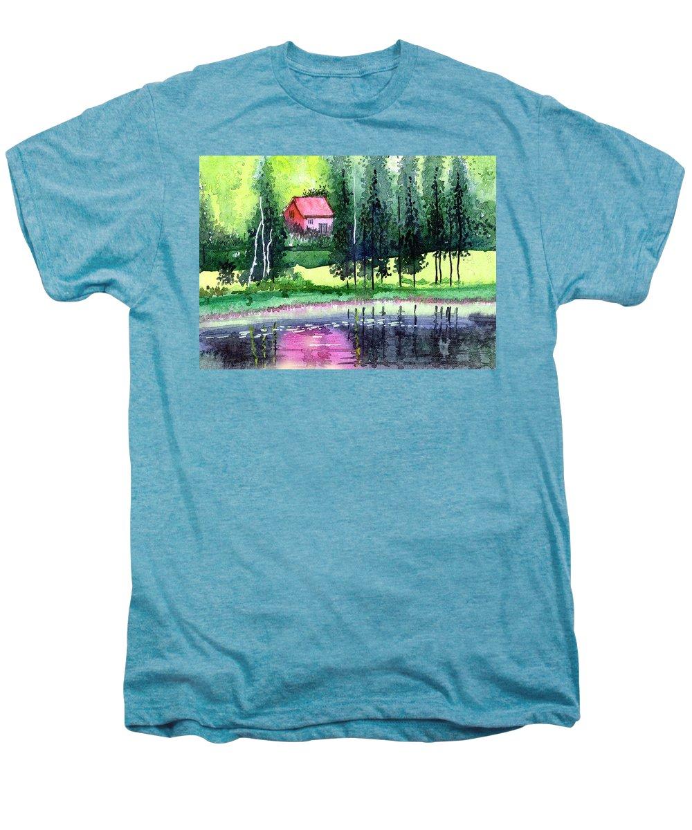 Landscape Men's Premium T-Shirt featuring the painting Guest House by Anil Nene