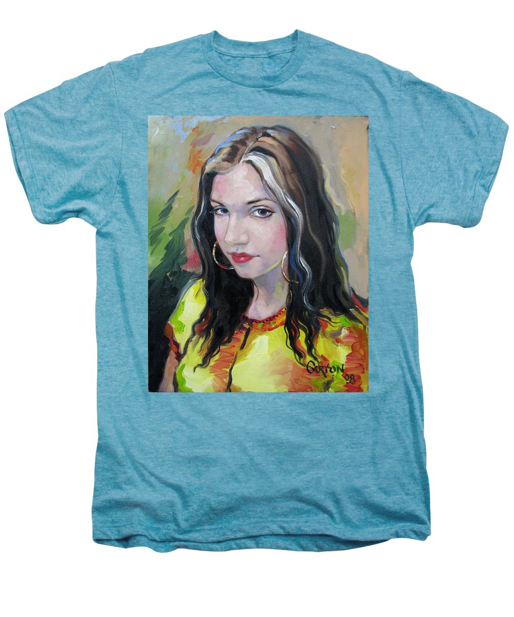 Gypsy Men's Premium T-Shirt featuring the painting Gypsy Girl by Jerrold Carton