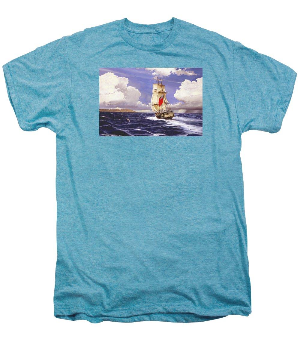 Marine Men's Premium T-Shirt featuring the painting H. M. S. Bounty At Tahiti by Marc Stewart