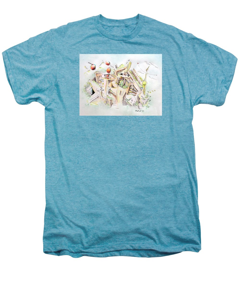 City Men's Premium T-Shirt featuring the painting Habitat by Dave Martsolf