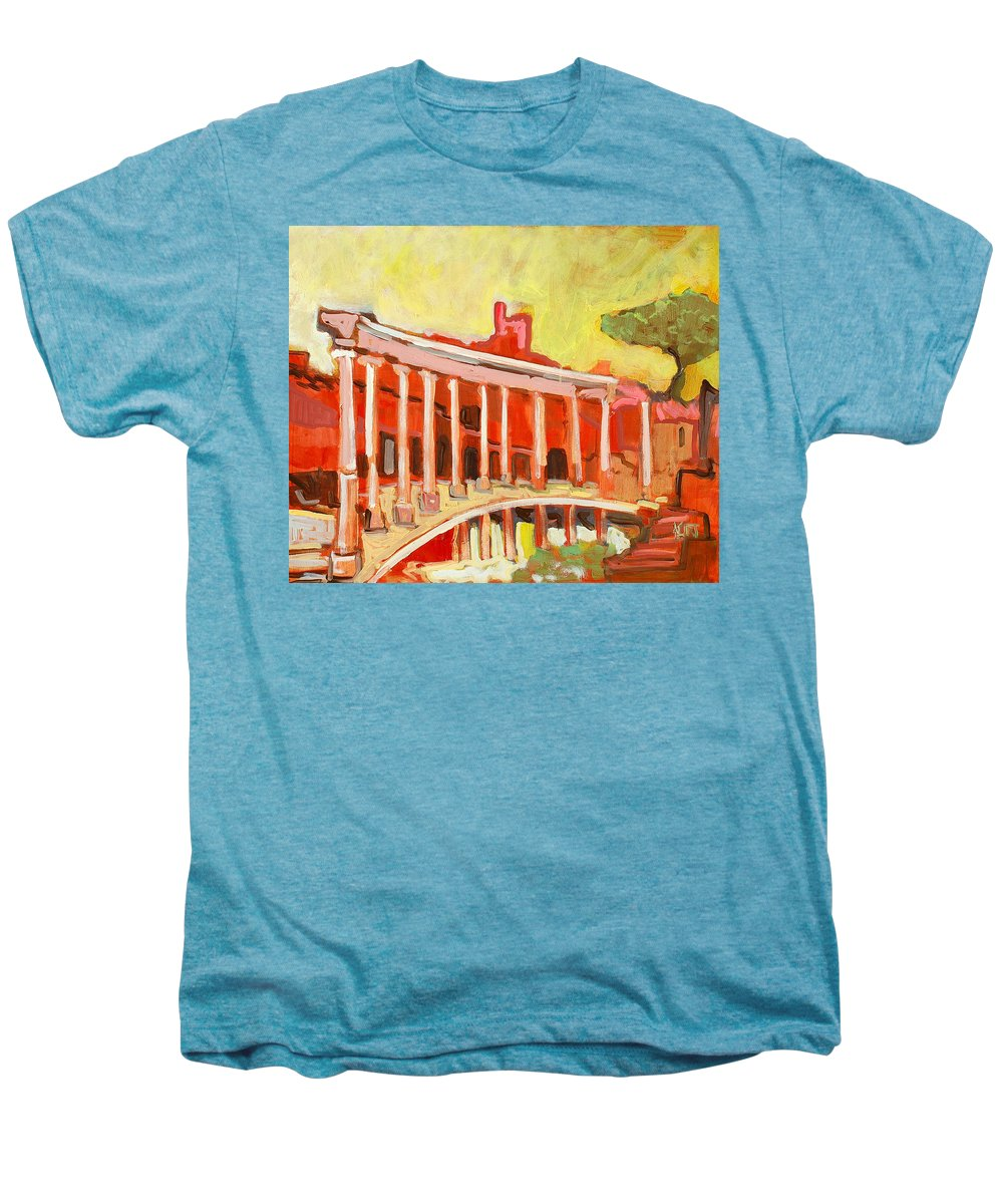 Villa Men's Premium T-Shirt featuring the painting Hadrian's Villa by Kurt Hausmann