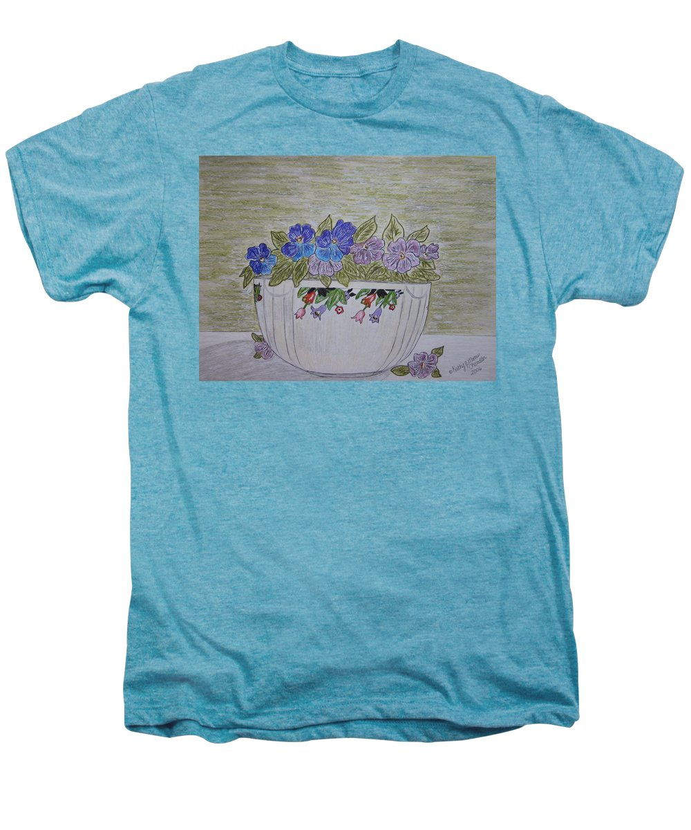 Hall China Men's Premium T-Shirt featuring the painting Hall China Crocus Bowl With Violets by Kathy Marrs Chandler