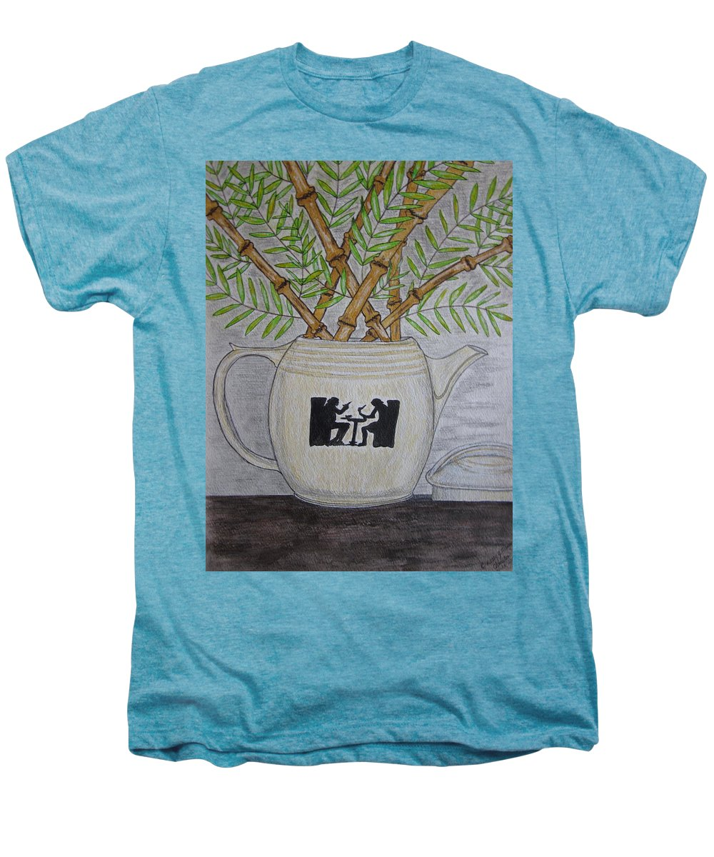 Hall China Men's Premium T-Shirt featuring the painting Hall China Silhouette Pitcher With Bamboo by Kathy Marrs Chandler