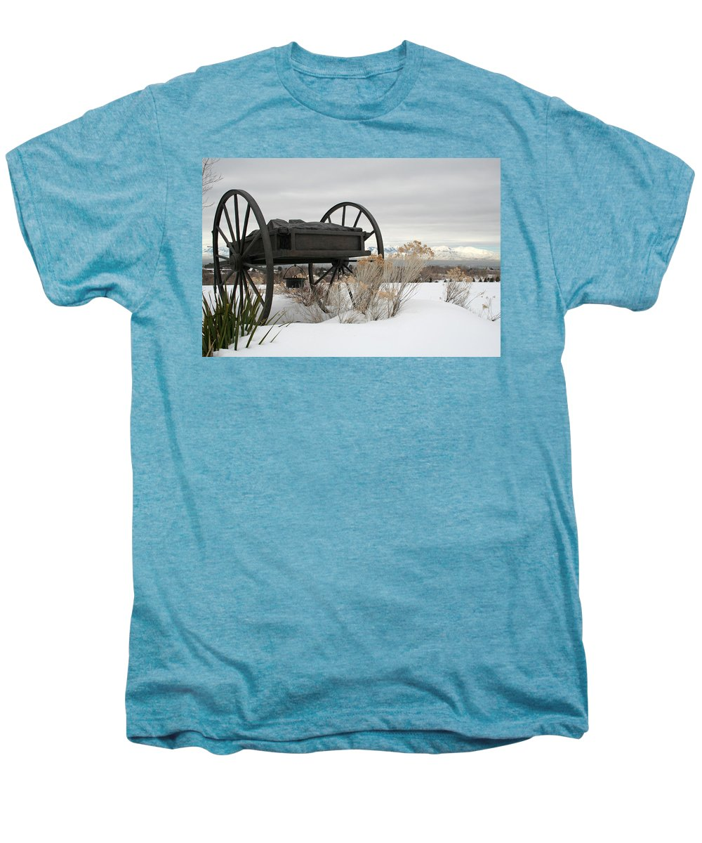 Handcart Men's Premium T-Shirt featuring the photograph Handcart Monument by Margie Wildblood