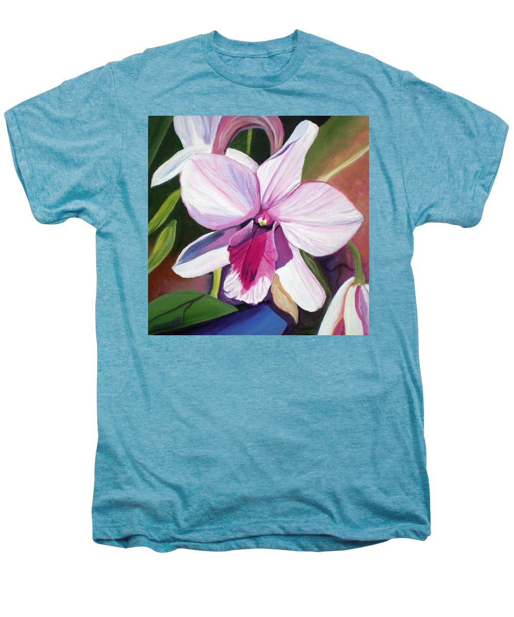 Kauai Men's Premium T-Shirt featuring the painting Happy Orchid by Marionette Taboniar