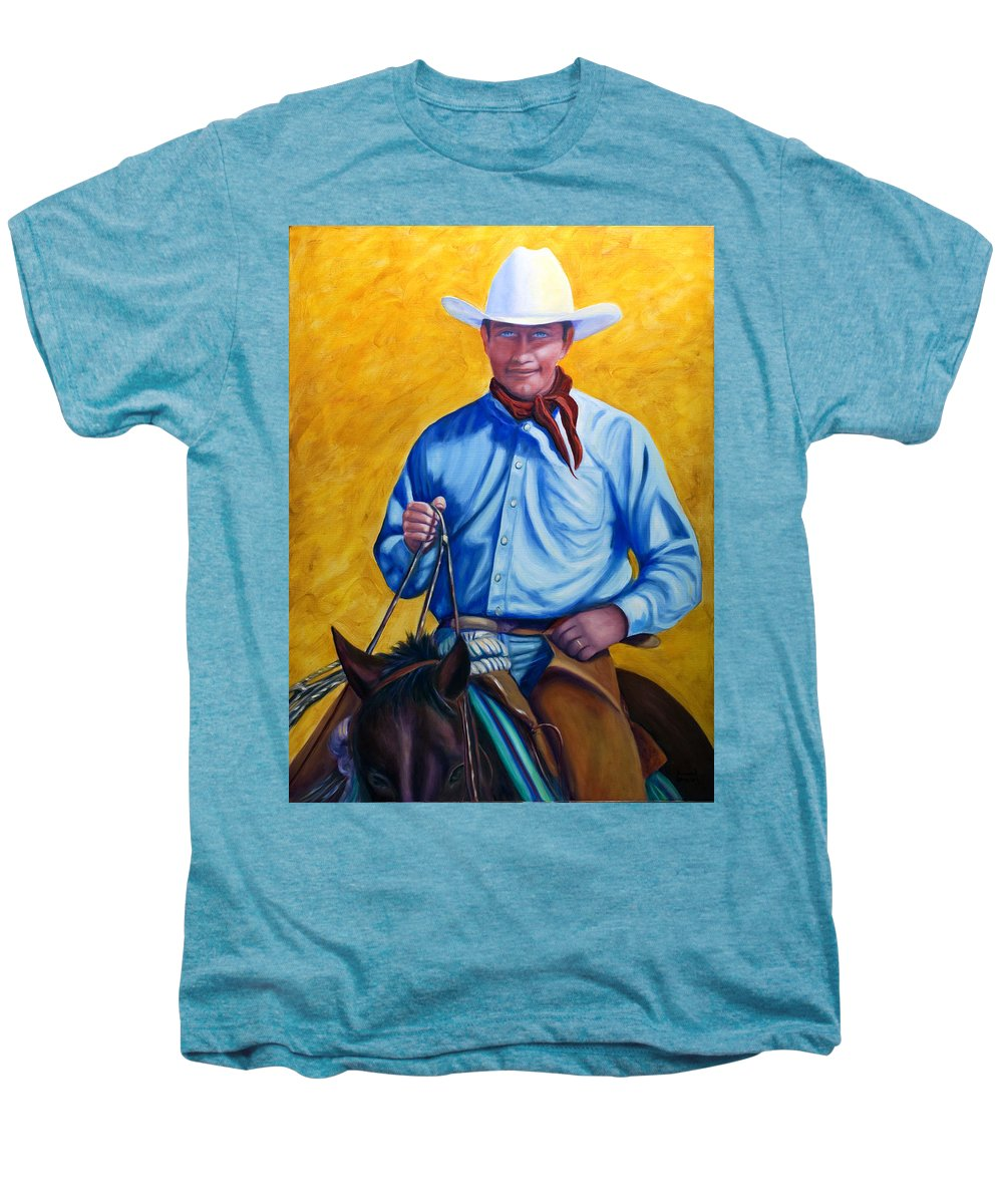 Cowboy Men's Premium T-Shirt featuring the painting Happy Trails by Shannon Grissom