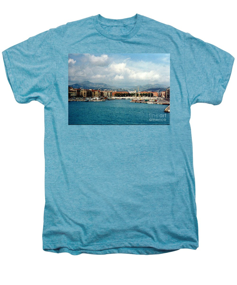 Landscape Men's Premium T-Shirt featuring the photograph Harbor Scene In Nice France by Nancy Mueller