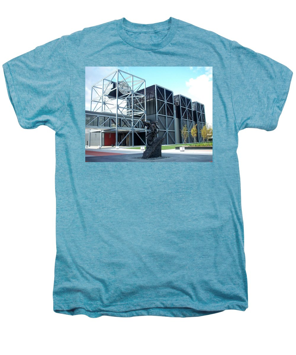 Architechture Men's Premium T-Shirt featuring the photograph Harley Museum And Statue by Anita Burgermeister