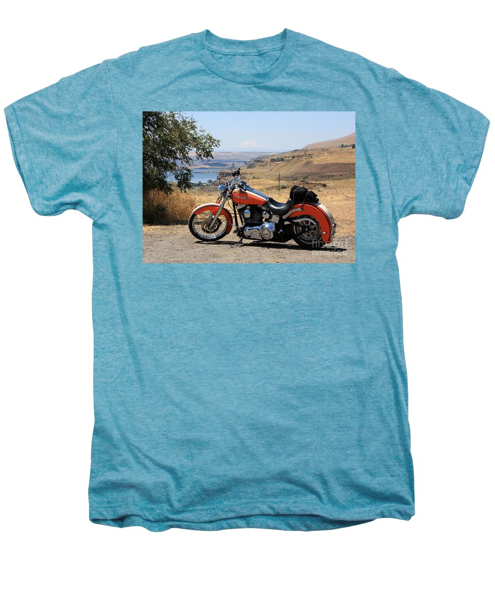 Washington State Men's Premium T-Shirt featuring the photograph Harley With Columbia River And Mt Hood by Carol Groenen