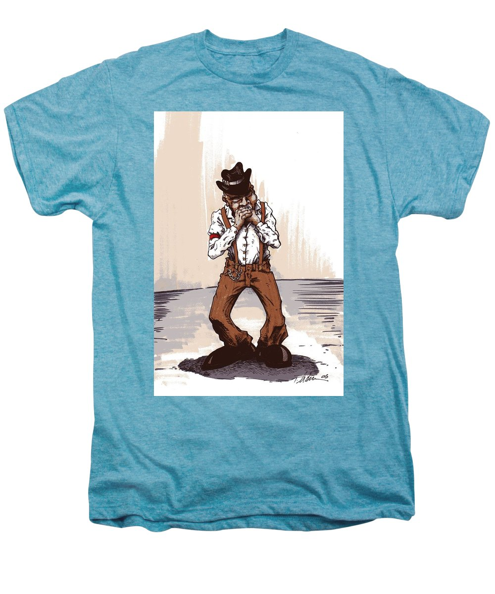 Blues Men's Premium T-Shirt featuring the drawing Harmonica by Tobey Anderson