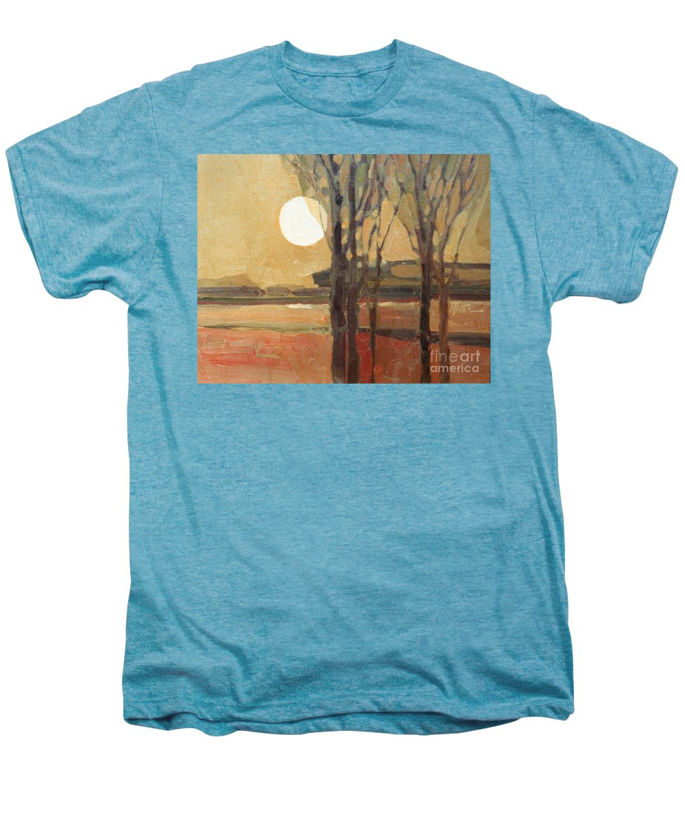 Sunset Men's Premium T-Shirt featuring the painting Harvest Moon by Donald Maier