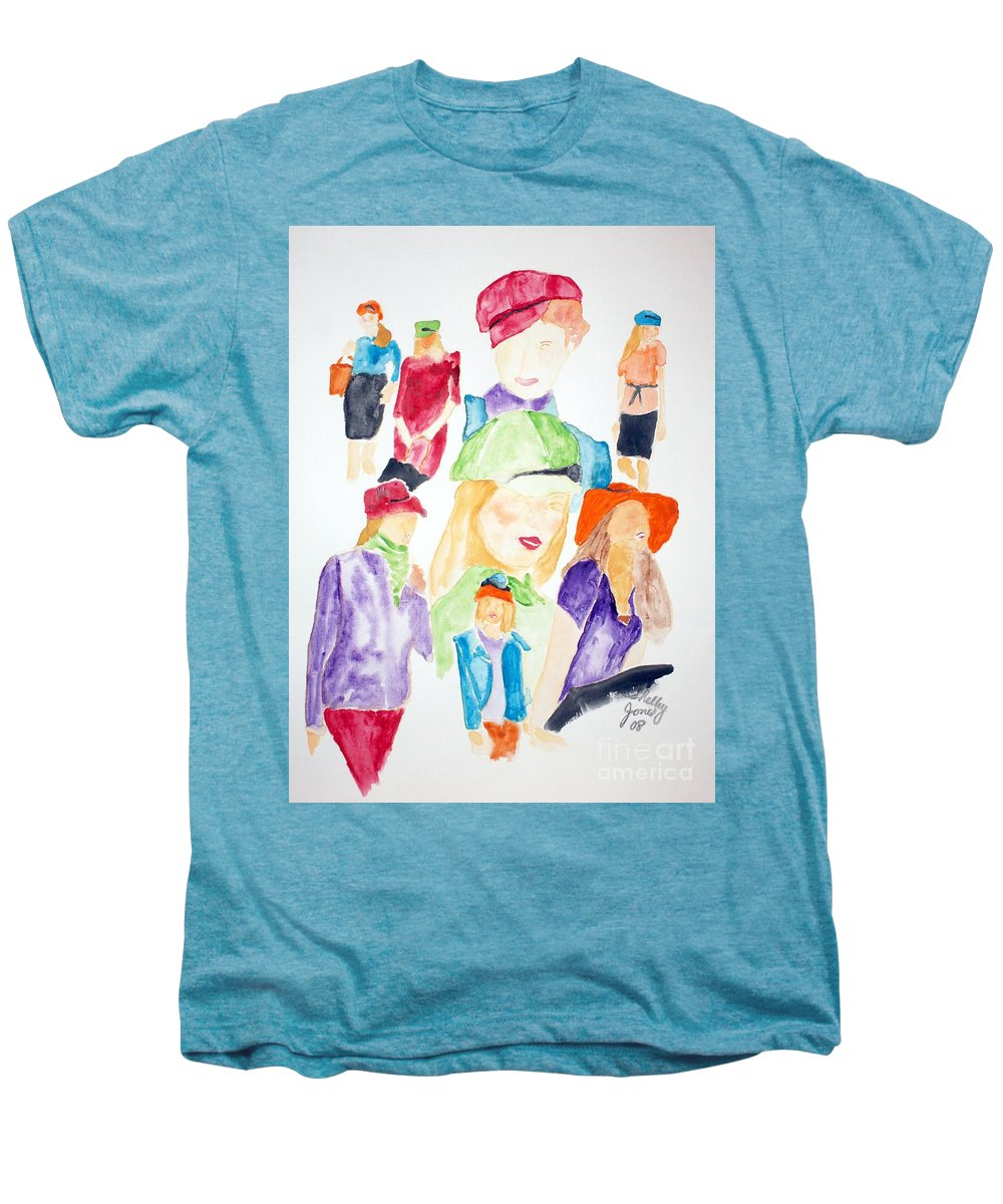 Hats Men's Premium T-Shirt featuring the painting Hats by Shelley Jones