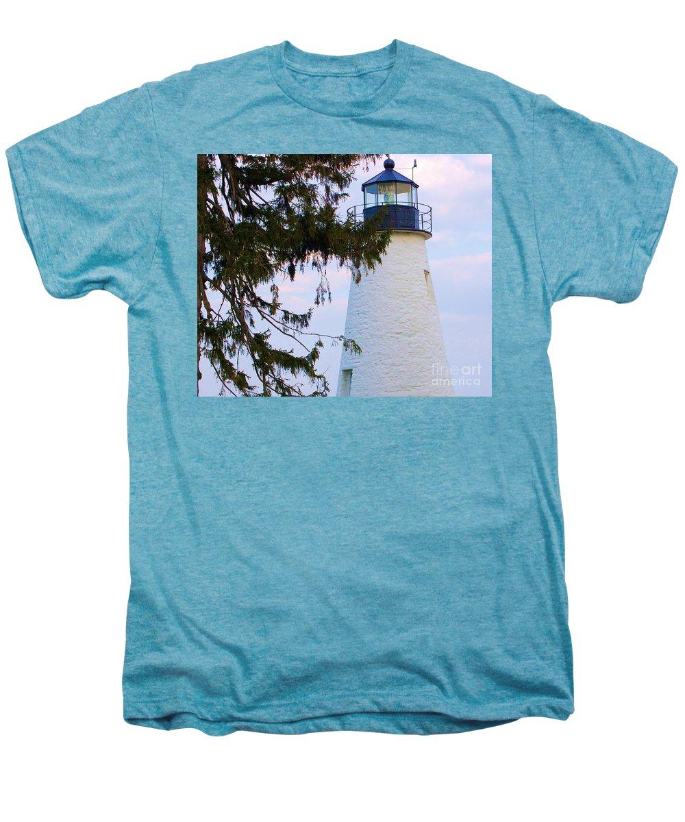 Lighthouse Men's Premium T-Shirt featuring the photograph Havre De Grace Lighthouse by Debbi Granruth