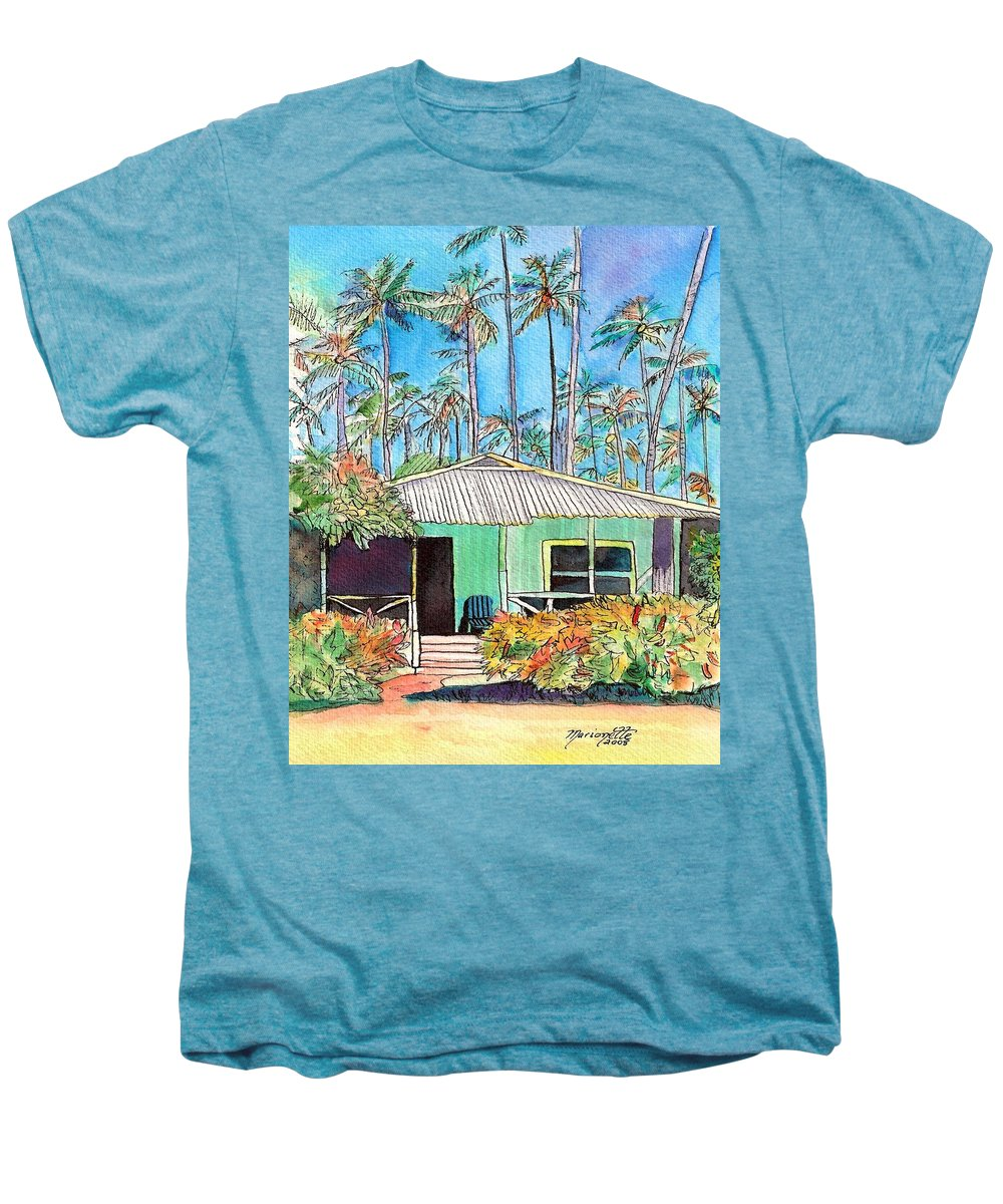 Cottage Men's Premium T-Shirt featuring the painting Hawaiian Cottage I by Marionette Taboniar