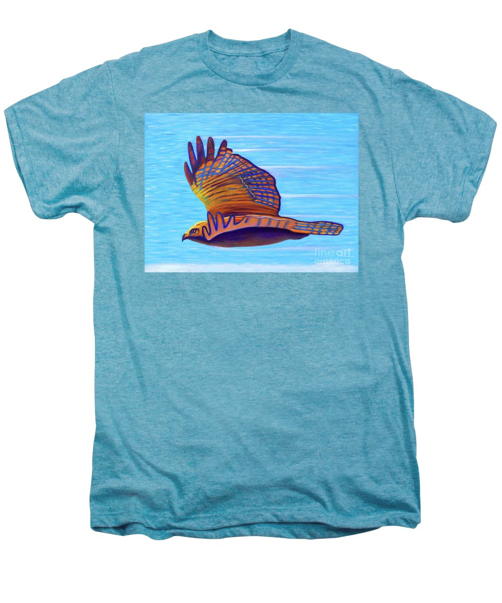 Hawk Men's Premium T-Shirt featuring the painting Hawk Speed by Brian Commerford