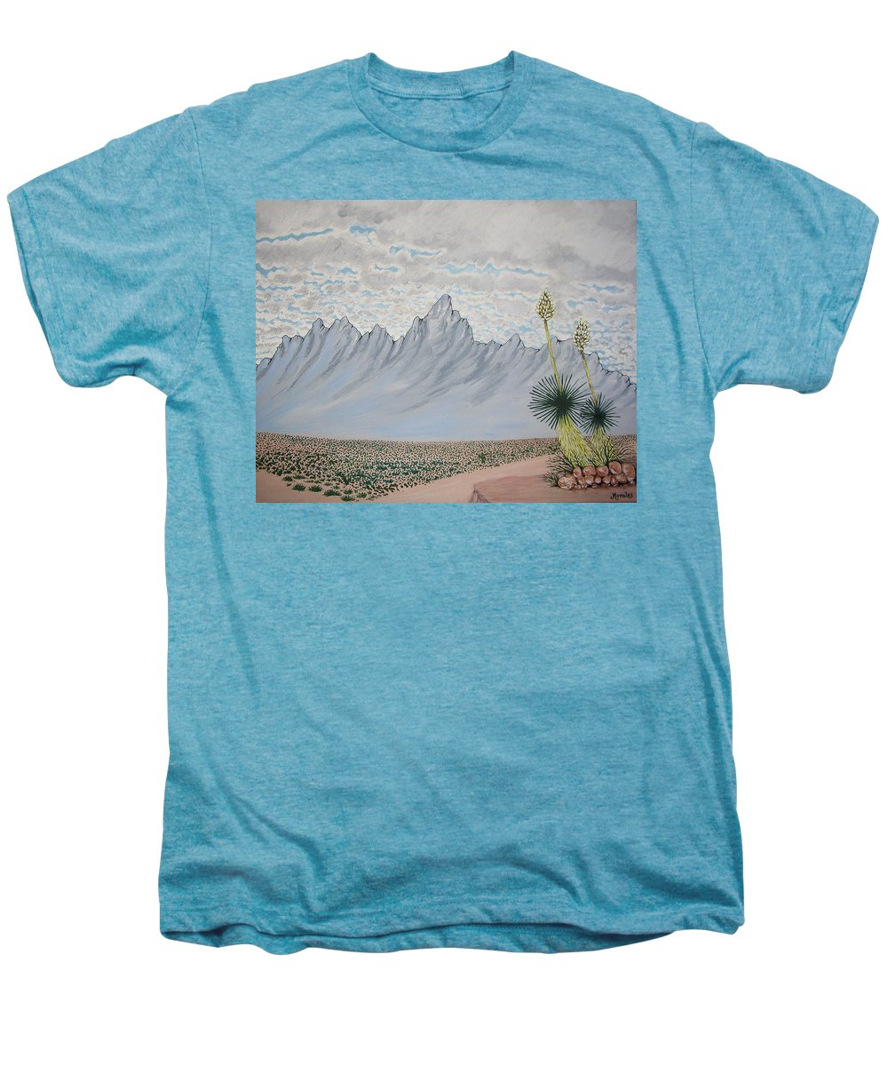 Desertscape Men's Premium T-Shirt featuring the painting Hazy Desert Day by Marco Morales