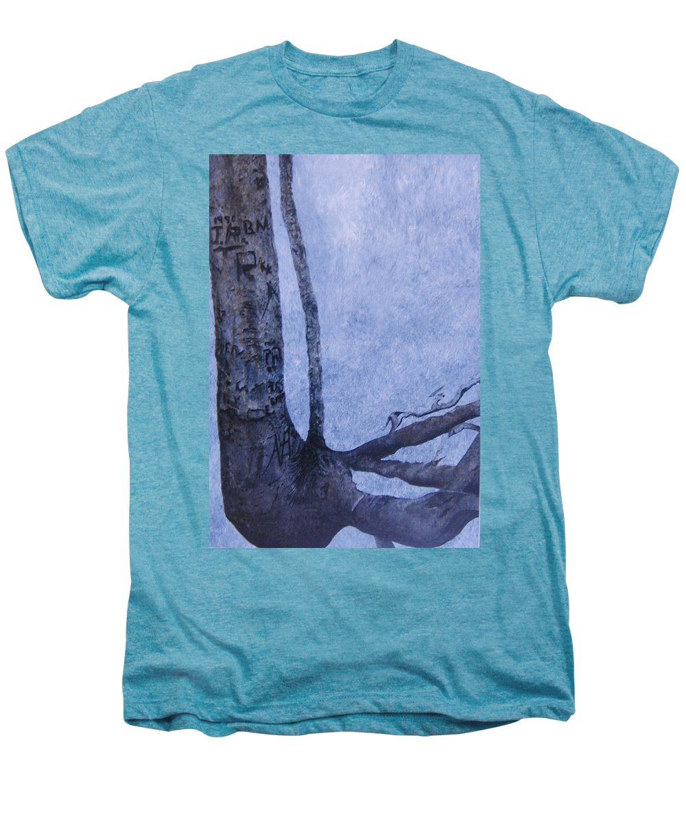 Tree Trunk Men's Premium T-Shirt featuring the painting Hedden Park II by Leah Tomaino