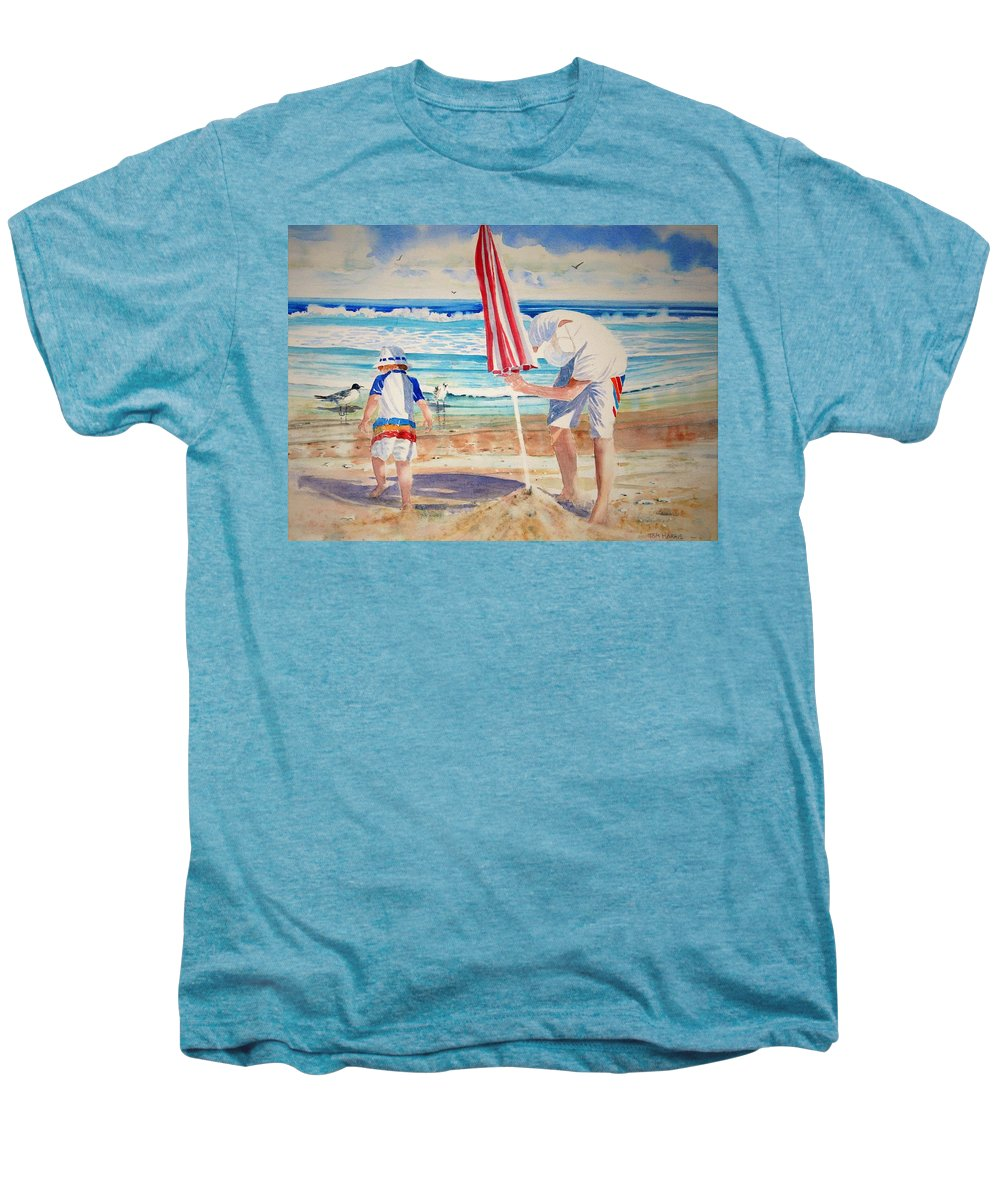 Beach Men's Premium T-Shirt featuring the painting Helping Dad Set Up The Camp by Tom Harris