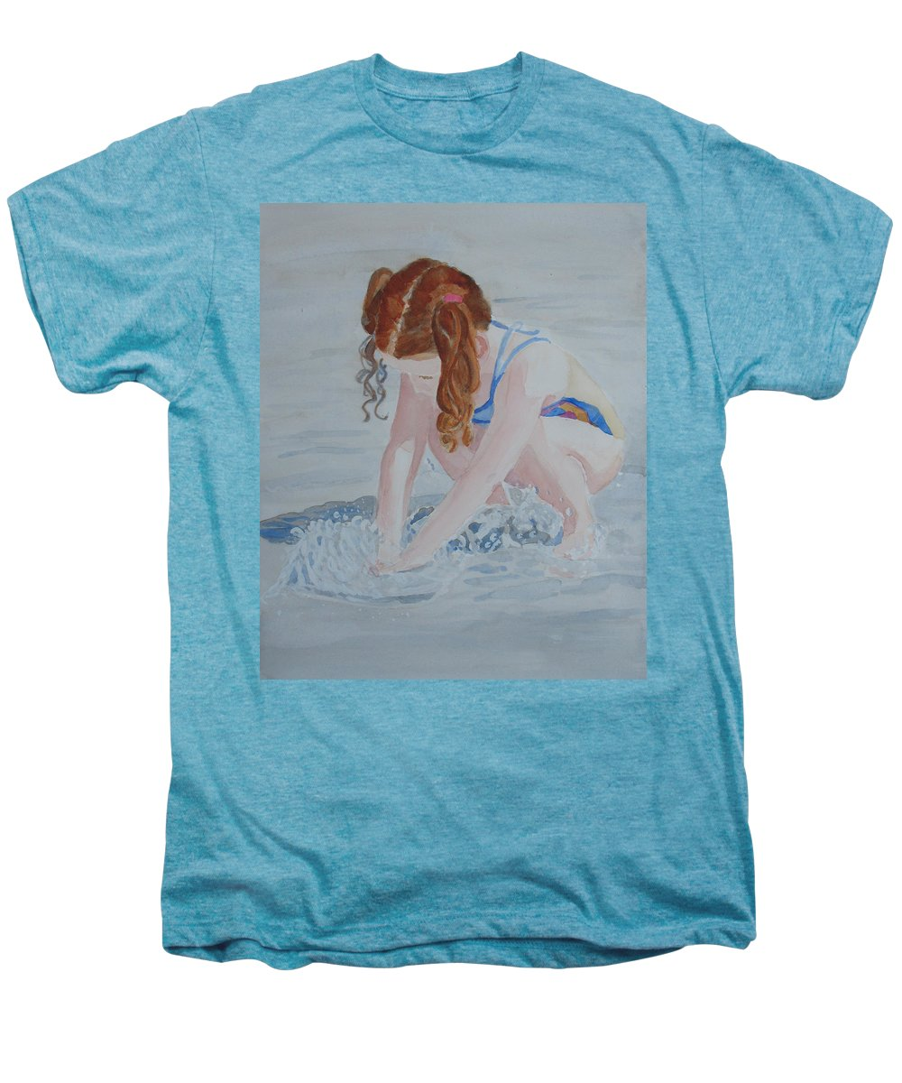 Girl Men's Premium T-Shirt featuring the painting Her Own Little Fountain by Jenny Armitage