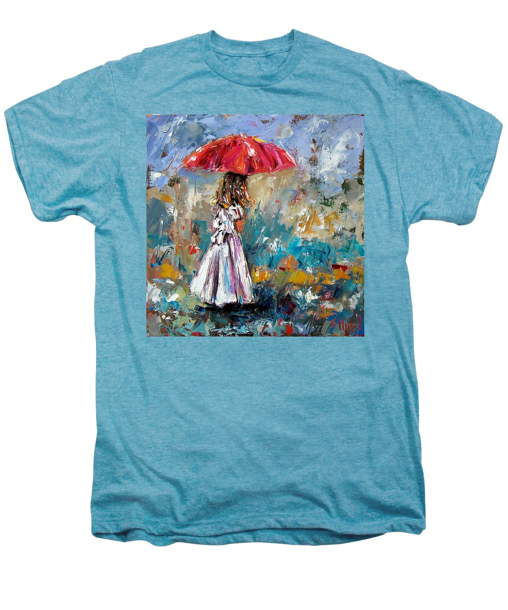 Children Art Men's Premium T-Shirt featuring the painting Her White Dress by Debra Hurd