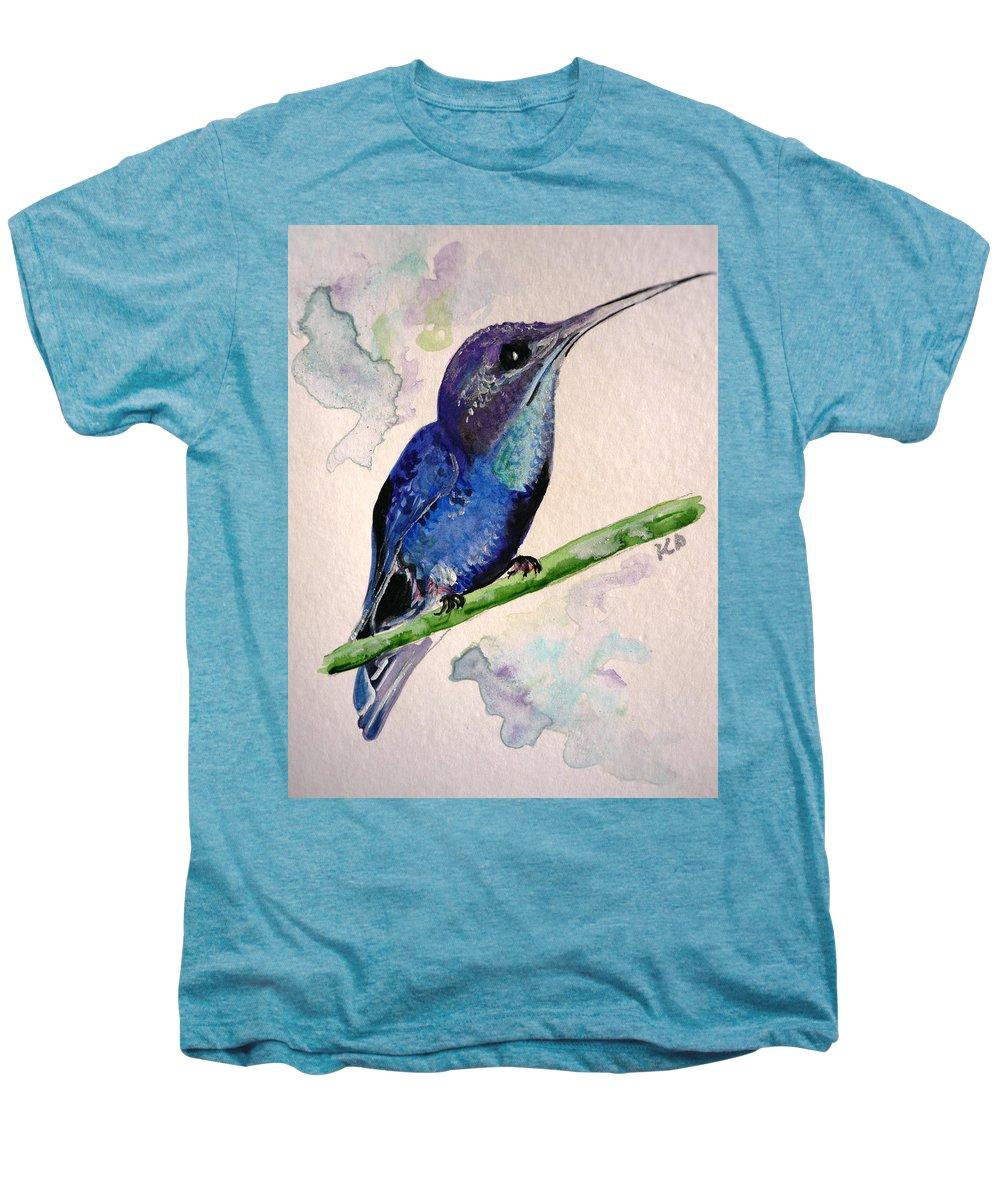 Hummingbird Painting Bird Painting Tropical Caribbean Painting Watercolor Painting Men's Premium T-Shirt featuring the painting hHUMMINGBIRD 2  by Karin Dawn Kelshall- Best