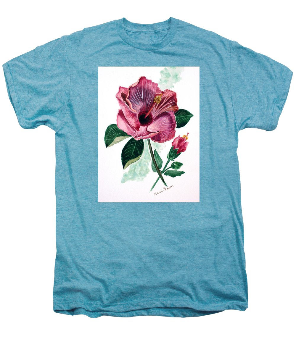 Flora Painting L Hibiscus Painting Pink Flower Painting Greeting Card Painting Men's Premium T-Shirt featuring the painting Hibiscus Dusky Rose by Karin Dawn Kelshall- Best