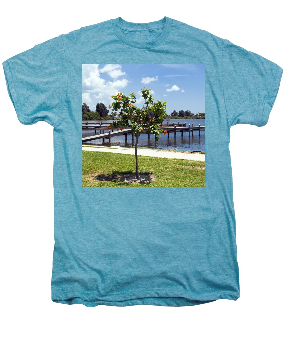 Hibiscus; Rosasinensis; Rosa; Sinensis; Rosa-sinensis; Tree; Bush; Shrub; Plant; Flower; Flowers; Fl Men's Premium T-Shirt featuring the photograph Hibiscus Rosasinensis With Fruit On The Indian River In Florida by Allan Hughes