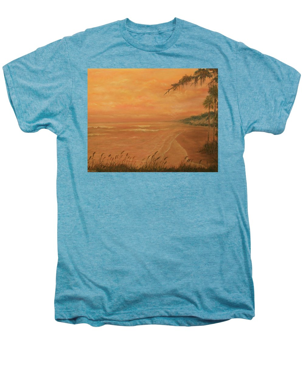 Beach; Ocean; Palm Trees; Water Men's Premium T-Shirt featuring the painting High Tide by Ben Kiger