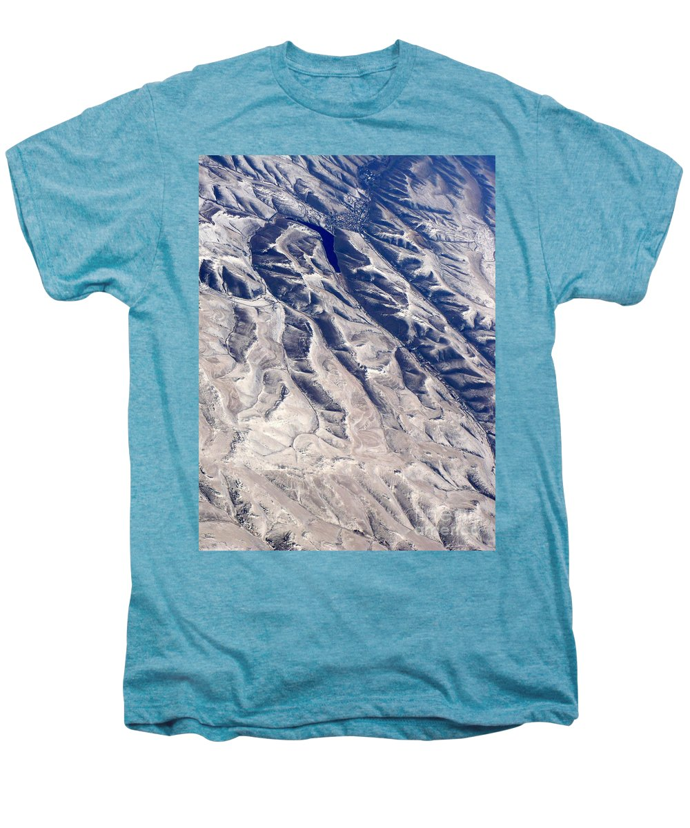 Aerial Men's Premium T-Shirt featuring the photograph Hills And Valleys Aerial by Carol Groenen