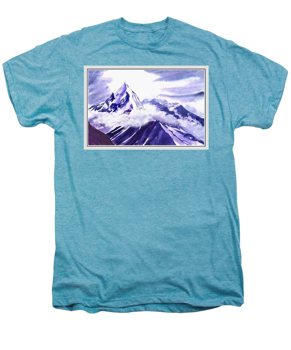 Landscape Men's Premium T-Shirt featuring the painting Himalaya by Anil Nene