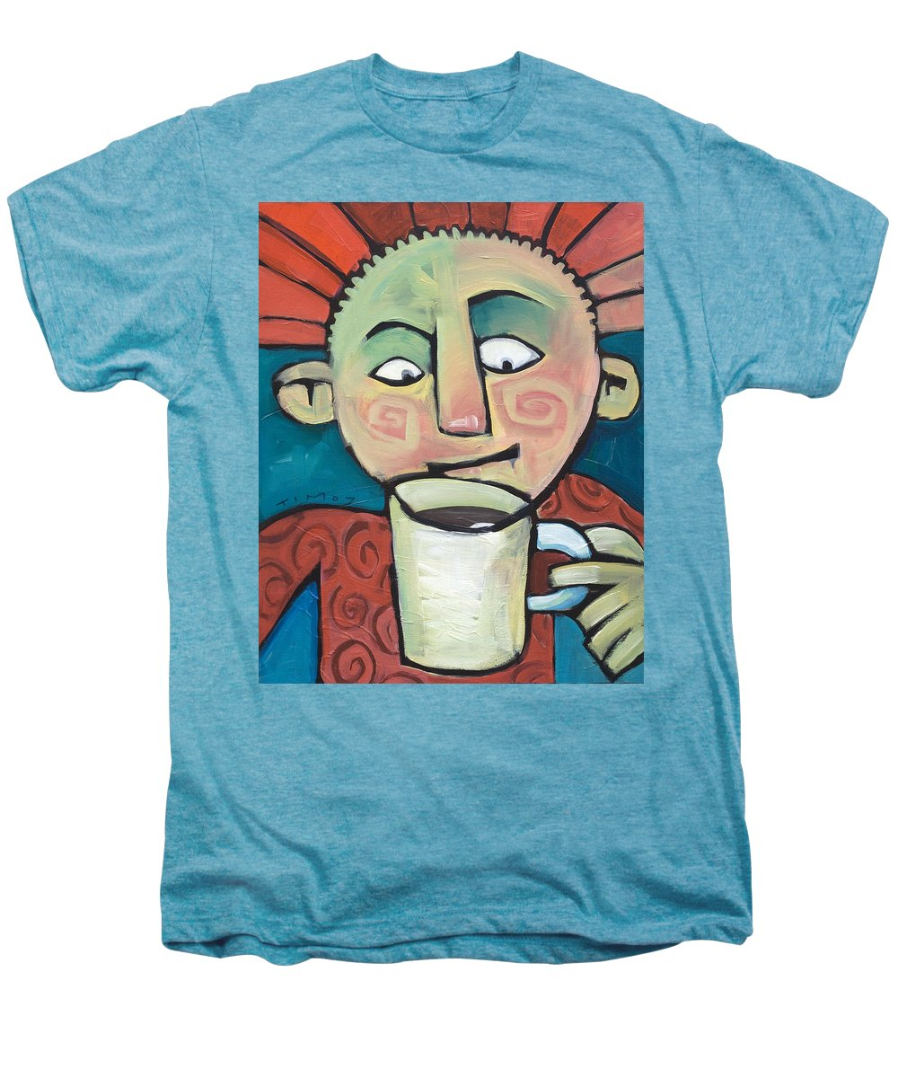 Smile Men's Premium T-Shirt featuring the painting His Coffee Spoke To Him by Tim Nyberg
