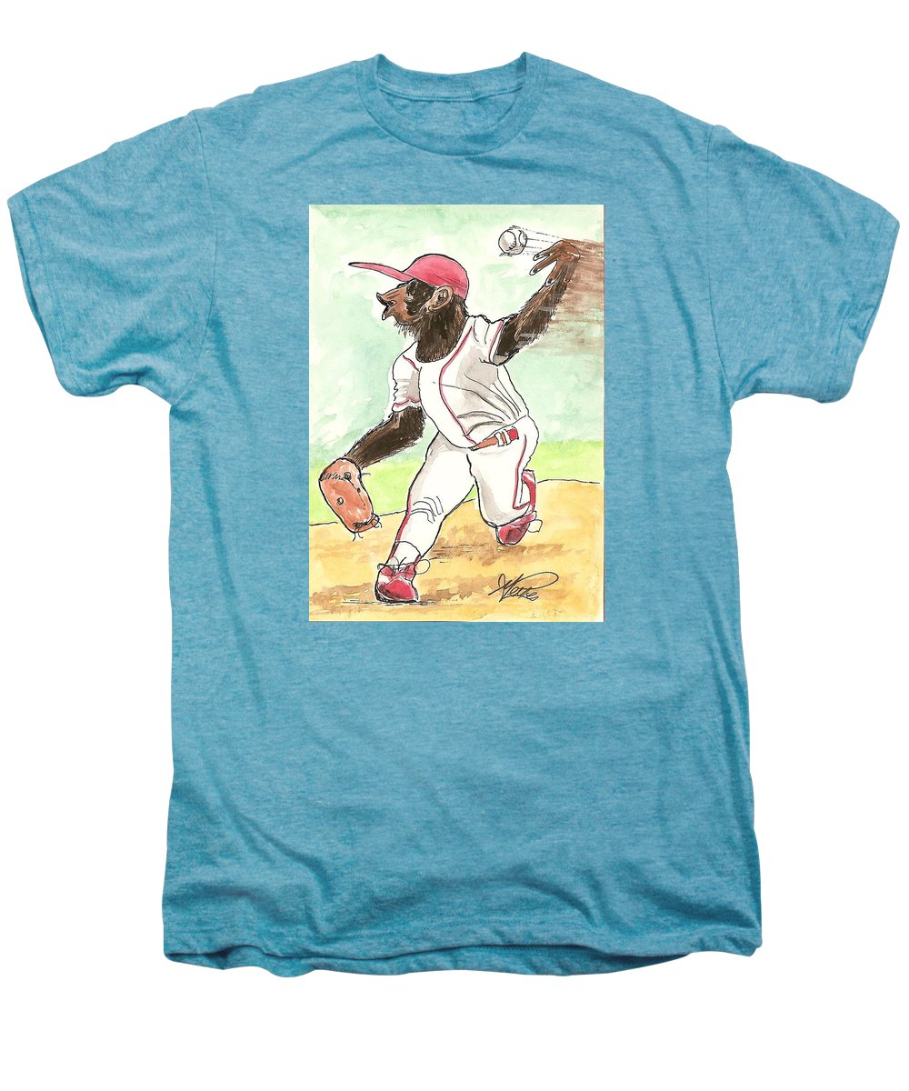 Baseball Men's Premium T-Shirt featuring the drawing Hit This by George I Perez