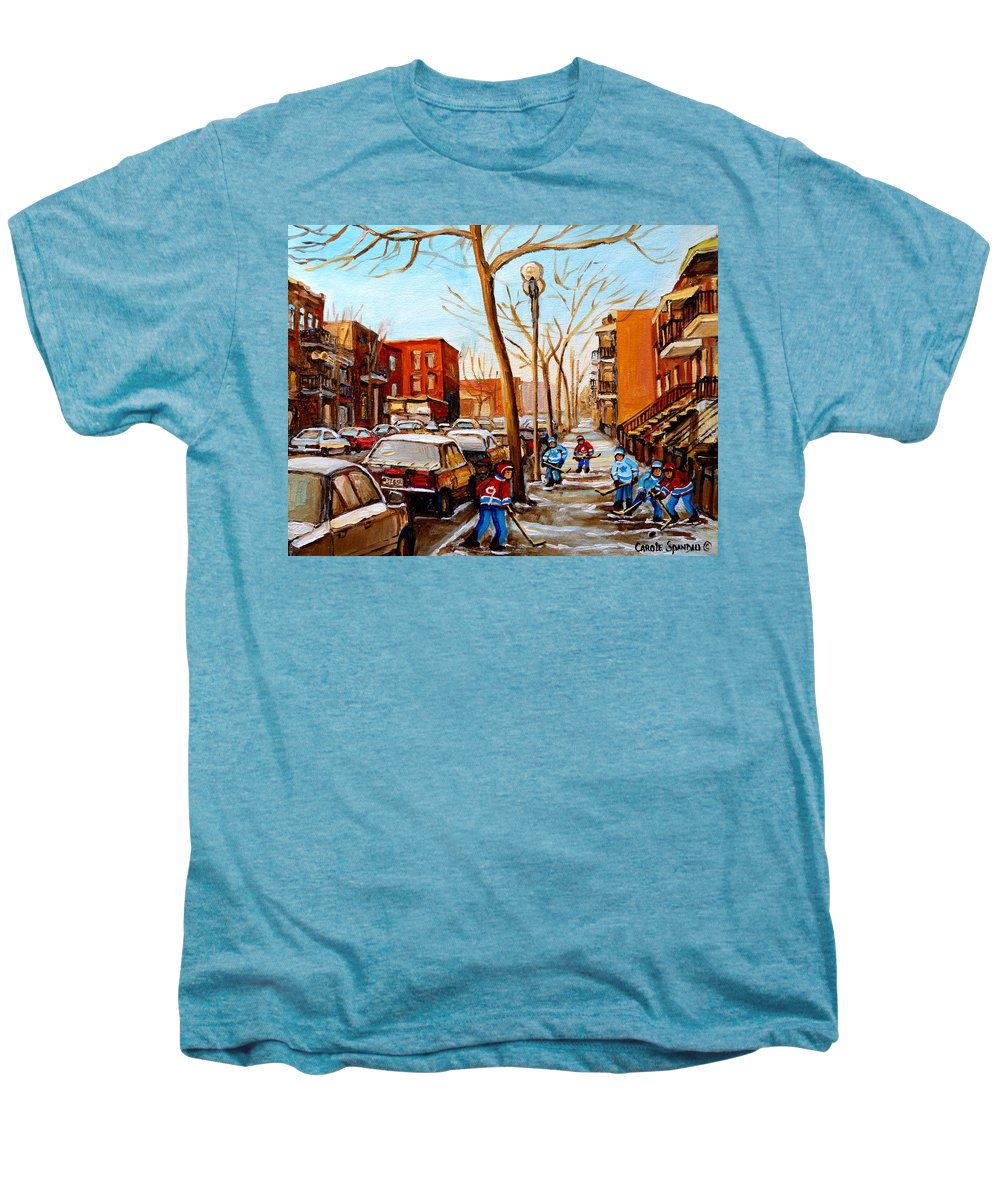 Hockey Men's Premium T-Shirt featuring the painting Hockey On St Urbain Street by Carole Spandau